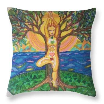 Yoga Tree Pose Throw Pillow
