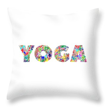 Yoga Word Art Throw Pillow