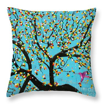 Throw Pillow featuring the painting Yokina Hana by Natalie Briney