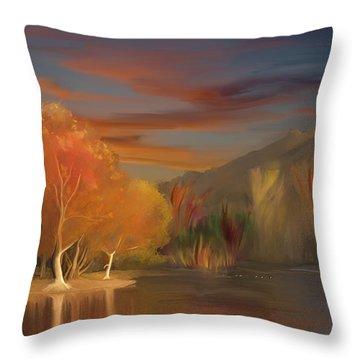 Yorba Linda Lake By Anaheim Hills Throw Pillow by Angela A Stanton