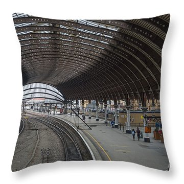 York Rail  Station  Northbound Throw Pillow