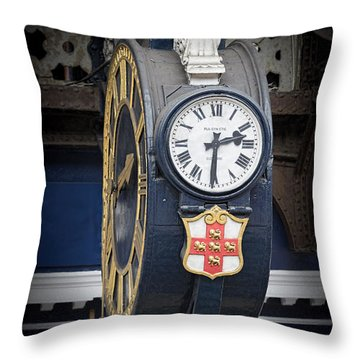York Railway Station Clock Throw Pillow