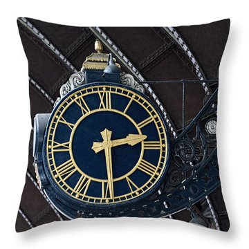 York Railway Station Clock Face Throw Pillow