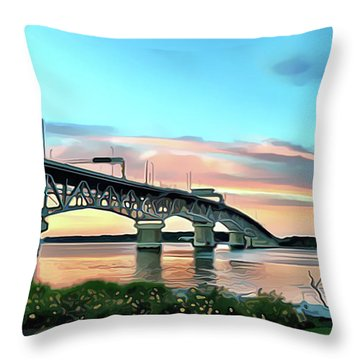 York River Bridge Throw Pillow