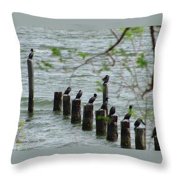 York River Cormorants Throw Pillow