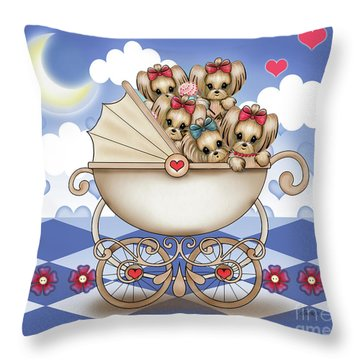 Yorkie Babies Strolling  Throw Pillow