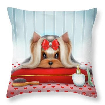 Yorkie Beauty Throw Pillow