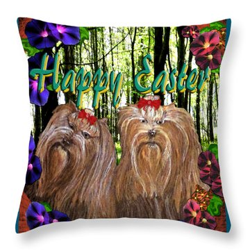 Throw Pillow featuring the digital art Yorkie Easter by Michelle Audas