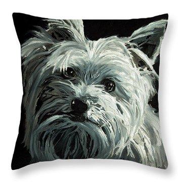 Yorkie Throw Pillow by Enzie Shahmiri