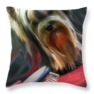Yorkie Throw Pillow by Graham Hawcroft pixsellpix