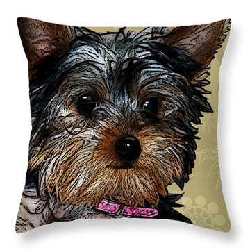Yorkie In Beige Throw Pillow