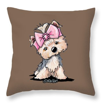 Yorkie In Bow Throw Pillow