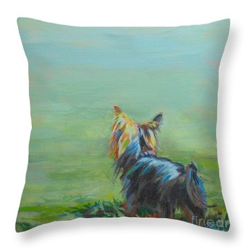Yorkie In The Grass Throw Pillow by Kimberly Santini