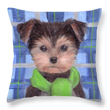 Yorkie Poo With Scarf Throw Pillow