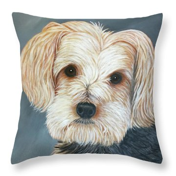 Throw Pillow featuring the painting Yorkie Portrait by Karen Zuk Rosenblatt