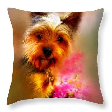 Yorkie Portrait Throw Pillow