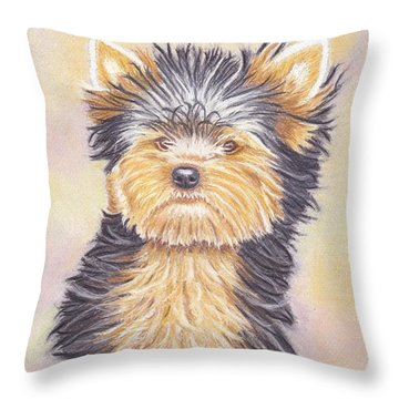 Yorkie Puppy Throw Pillow