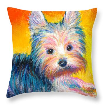 Yorkie Puppy Painting Print Throw Pillow by Svetlana Novikova