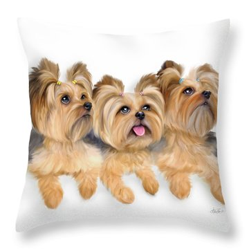 Yorkie Trio Throw Pillow