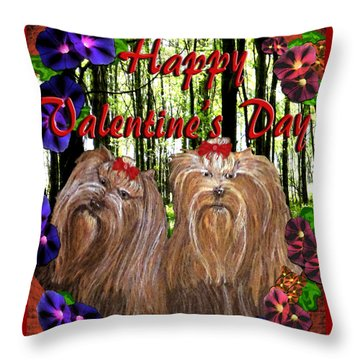 Throw Pillow featuring the digital art Yorkie Valentine Card by Michelle Audas