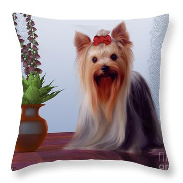 Yorkshire Terrier Throw Pillow by Corey Ford