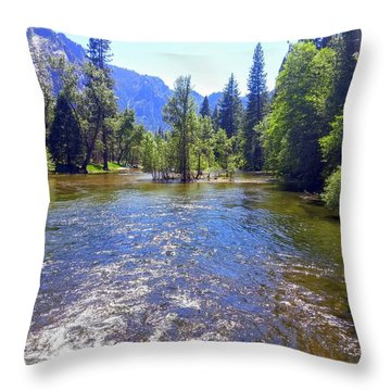 Yosemite River At Ease Throw Pillow