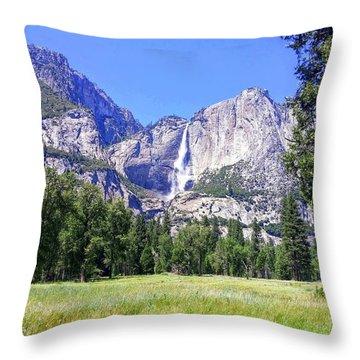 Yosemite Valley Waterfall Throw Pillow