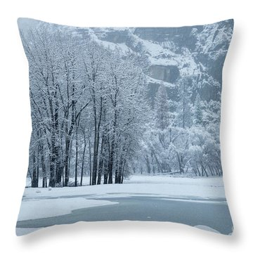 Throw Pillow featuring the photograph Yosemite - A Winter Wonderland by Sandra Bronstein