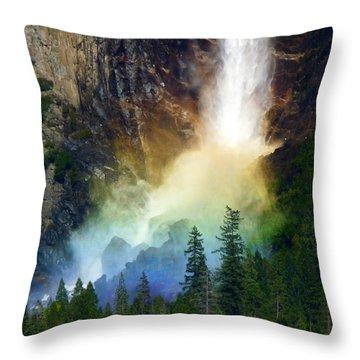 Yosemite Bridalveil Fall Rainbow Throw Pillow by Jeff Lowe
