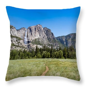 Yosemite Falls And Valley Panorama Throw Pillow