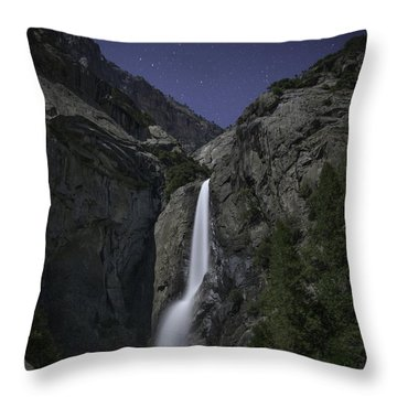 Yosemite Falls At Night Throw Pillow