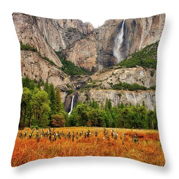 Yosemite Falls Autumn Colors Throw Pillow