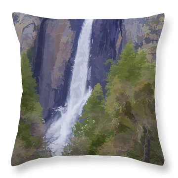 Yosemite Falls Digital Watercolor Throw Pillow