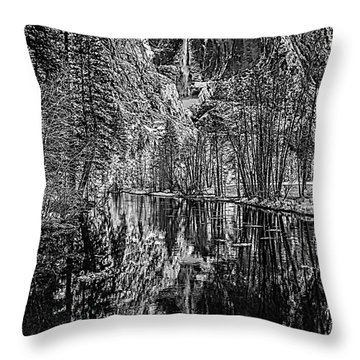 Throw Pillow featuring the photograph Yosemite Falls From The Swinging Bridge In Black And White by Bill Gallagher