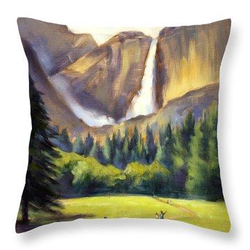 Yosemite Falls Throw Pillow by Karin  Leonard
