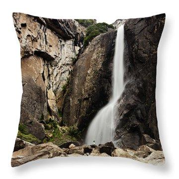 Yosemite Falls Lower And Hiker Throw Pillow