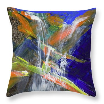 Throw Pillow featuring the painting Yosemite Falls Summer Trickle  by Walter Fahmy