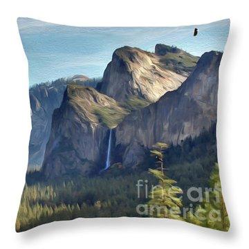 Yosemite Falls Throw Pillow by Walter Colvin