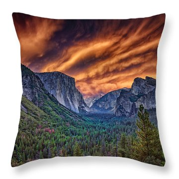 Yosemite Fire Throw Pillow
