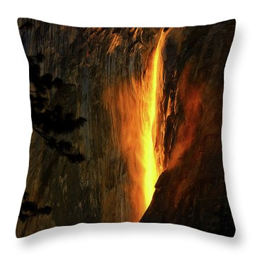 Throw Pillow featuring the photograph Yosemite Firefall by Greg Norrell