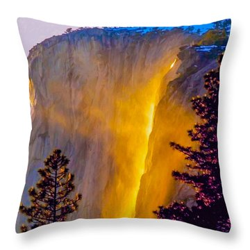 Yosemite Firefall Painting Throw Pillow