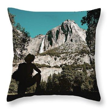 Yosemite Hiker Throw Pillow by Marji Lang