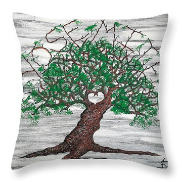 Throw Pillow featuring the drawing Yosemite Love Tree by Aaron Bombalicki