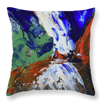 Throw Pillow featuring the painting Yosemite Lower Falls  by Walter Fahmy