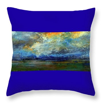 Throw Pillow featuring the painting Yosemite Meadow Sunset by Walter Fahmy