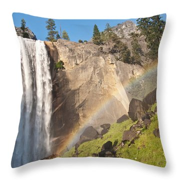 Throw Pillow featuring the photograph Yosemite Mist Trail Rainbow by Shane Kelly