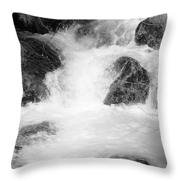 Yosemite Raging River Stream Throw Pillow