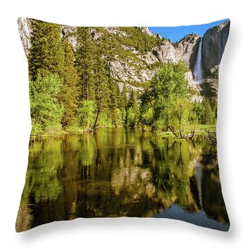 Yosemite Reflections On The Merced River Throw Pillow