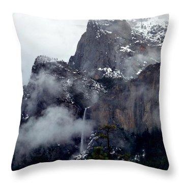 Yosemite Snowy Bridalveil Falls  Throw Pillow by Jeff Lowe