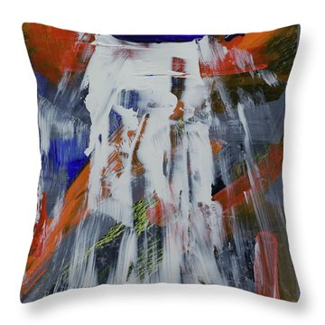 Throw Pillow featuring the painting Yosemite Spring Falls by Walter Fahmy